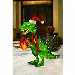 150 light animated tinsel dinosaur with gift box 36 inch for Animated tinsel dinosaur christmas decoration