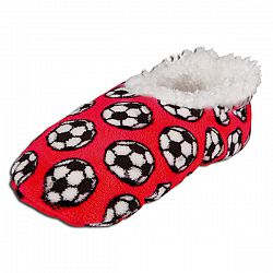 Snoozies Soccer Slippers Red YS