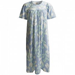 Calida Soft Cotton Nightgown - Interlock Cotton, Satin Trim, Short Sleeve (For Women)