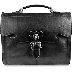 Zeyner Vachetta Black Italian Leather Flap-Over 15.4-inch Laptop Briefcase