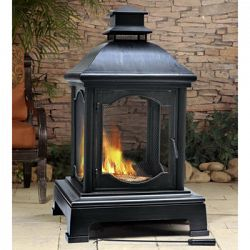 Sunjoy pineville outdoor wood burning fireplace sale for Foyer exterieur costco