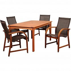 amazonia bahamas 4 person sling patio dining set with eucalyptus table