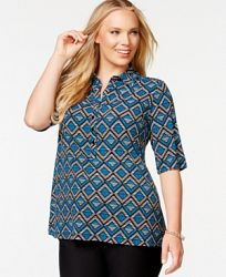 Alfani plus size elbow length sleeve printed polo shirt for Elbow length t shirts women s