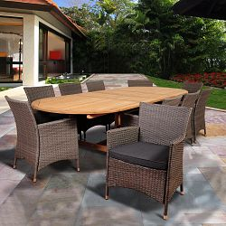 Amazonia harrison park 10 person resin wicker patio dining for 10 person dining table for sale