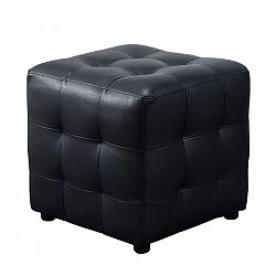 Diamond Sofa Zen Leather Tufted Cube Accent Ottoman In