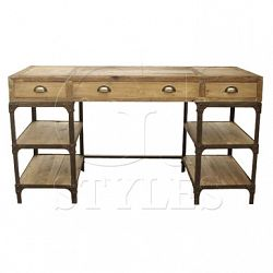 GJ Styles Pine And Iron Desk With Drawers