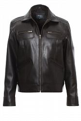 Mens Biker Jacket Faux Leather David - JAMES&CO - S / Black