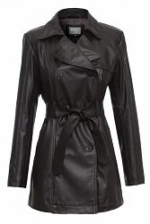 Womens Trench Coat Faux Leather Black l JAMES&CO - S / Black