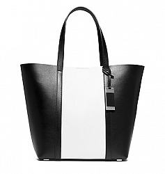 Bridget Large Color-Block Leather Tote, Women's, White(White)