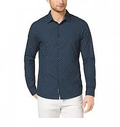 Slim-Fit Dot-Print Cotton Shirt, Size: XL, Midnight(Blue)