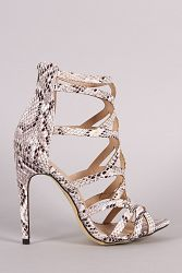 Python Strappy Caged Stiletto Heel - Snake / 8.5