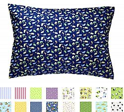 TODDLER PILLOWCASE - 100% Cotton - 200 Thread Count - Soft Percale - Envelope Style - Fits 13x19 Pillows - *PREMIUM PRODUCT Made in Virginia (Blue Fishies)
