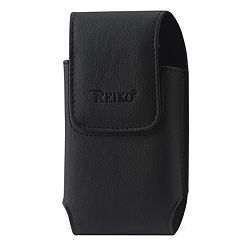 Reiko Vertical Leather Pouch Samsung Note2 Plus-Black With Logo Inner Size: 6.34X3.57X0.77Inch
