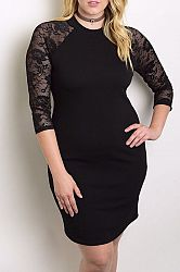 Lace Sleeves Accents Body-con Midi Dress - 2XL / BLACK