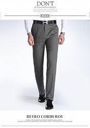 Men's Leisure Pants Cotton Washed Casual Pants Straight Trousers - 38 / Dark Gray