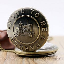 "Bronze Tractor Design "" Proud To Be A farmer "" Pocket Watch With Chain"