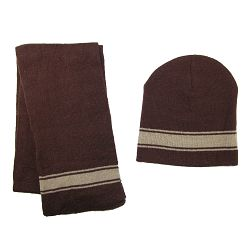 CTM Boys' 2-4 Striped Hat and Scarf Set