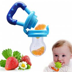 Portable Infant Food Baby Nipple Feeder Silicone Pacifier Fruits Feeding Supplies Soother Nipples Soft Baby Feeding Tool Bebe - blue S
