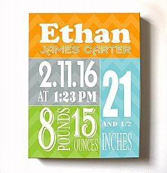 Personalized Stretched Canvas Birth Announcement Gift, Custom Baby Name, Date, Weight Stats, Newborn Abstract Nursery Wall Art Decor, High Quality 100% Wooden Frame Construction, Ready To Hang 8X10