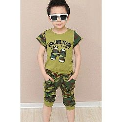 Casual Short Sleeve Camouflage Color T-Shirt + Shorts Twinset For Boy U213-171342202