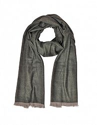 Zigzag Stripe Cashmere Silk and Wool Long Scarf w/Fringes