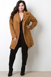 Notched Collar Longline Jacket - Camel / 3X