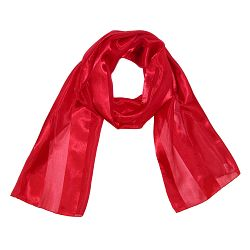 CTM Women's Long Solid Satin Scarf
