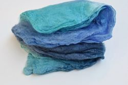 Mulberry Silk Hankies Mawata Squares Hand Dyed 10g Blue Mix 12273