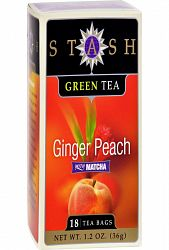 Stash Tea Ginger Peach Green W- Matcha - 18 Tea Bags - Case Of 6
