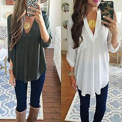 Maternity V-Neck Chiffon Blouse Long Sleeve Loose Tops Blouses - White / 5XL