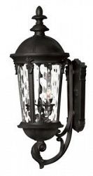 1894BK - Hinkley Lighting - Windsor - 25.5 Outdoor Wall Mount 40W Candelabra Base Black Finish with Clear Water Glass -