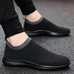 Slip-On Breathable Comfortable Casual Shoes - black-red / 6.5
