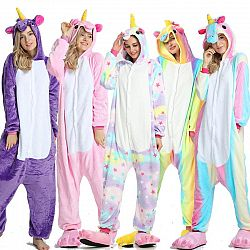 Kigurumi Pajama Adult Animal Unicorn Shark Onesie Women Men Couple 2019 Winter Pajamas Suit Kegurumi Sleepwear Flannel Pijamas - as picture 2 / XL