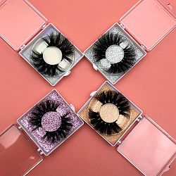 Mikiwi 25mm lashes 30/50/100/200 Wholesale 3D Mink Lashes Square case Free custom Logo packaging Label Makeup Box Mink Lashes - 200pairs with logo