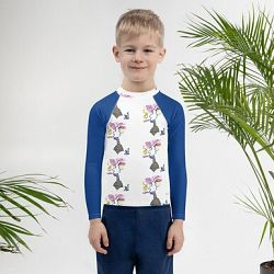 Human white -Kids Rash Guard