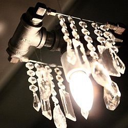 Industrial Single Bulb Pendant - Black Steel / with colored accent crystals*