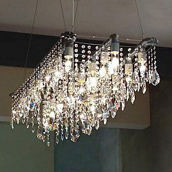 Industrial Triple Rail Chandelier - Brass / All-clear