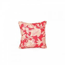 Square Outdoor Throw Pillow, Red Floral