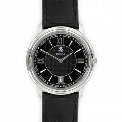 Birks Classic Watch Collection for Him, Stainless Steel Watch with Black Roman Dial and Black Leather Strap