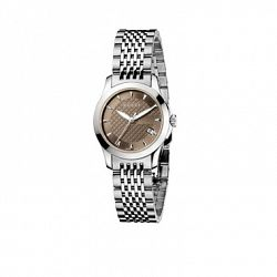 G Timeless Collection, Stainless Steel Smooth Bezel Watch with Brown Diamond Pattern Dial and Stainless Steel Bracelet