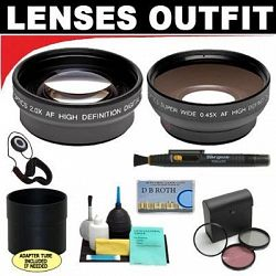 2x Digital Telephoto Professional Series Lens + 0.5x Digital Wide Angle Macro Professional Series Lens + 3 Piece Digital Camera Filter Kit + 6-Piece Deluxe Cleaning Kit + Lens Adapter Tube (If Needed) + Lenspen + Lens Cap Keeper + DB ROTH Micro Fiber C...