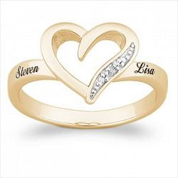 18k gold sterling name promise ring
