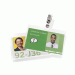 Self Seal Horizontal ID Badge Laminating Pouches, Clips, 8 Mil, 10 Per Pack, Clear