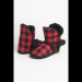 PLAID W/ FUR TRIM SLIPPER BOOTS