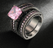 Absolutely divine 18K Black Gold Plated Pink Square crystal Luxury Fashion Set CZ Diamond - 7