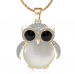 Charms Long Owl Necklace Vintage Crystal Gem