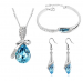 Crystal Jewelry Sets Pendants & Necklaces Stud Earring Bracelet Bangles Silver Chain Plated