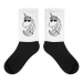 Black foot socks- Unicorn with sunglasses - M (6-8)