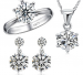925 Sterling Silver Jewelry Set - Luxury CZ Diamond Necklace Earrings And a Ring - Ring Size 7