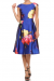 Floral Print Skater Dress - L / Royal Blue